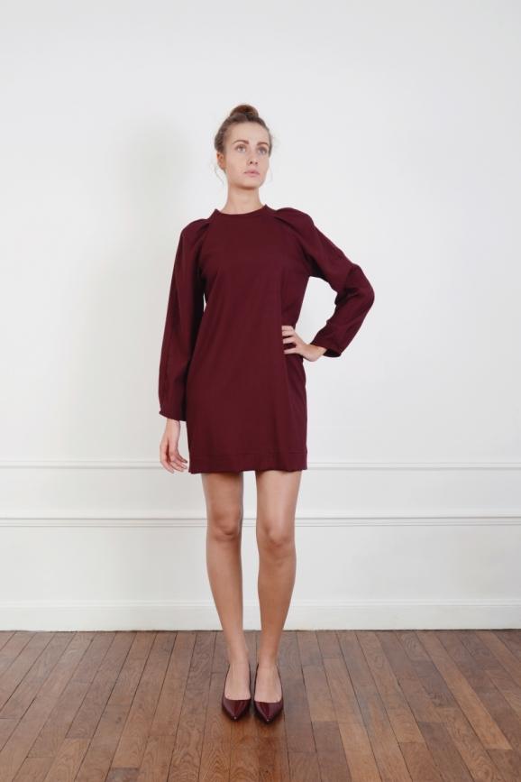 Robe, courte, manches longue, tenue, couture, made in france, Chic, Demi Saison, Fluide, ample, Mode, Surpiqures, bordeaux, légère