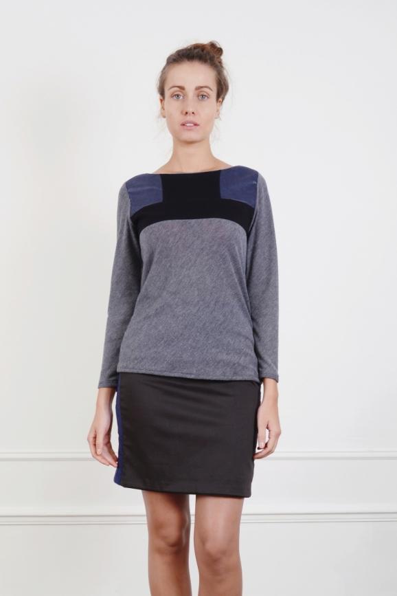 Jersey, pull, plastron, coton, noir, bleu, architectural, géométrie