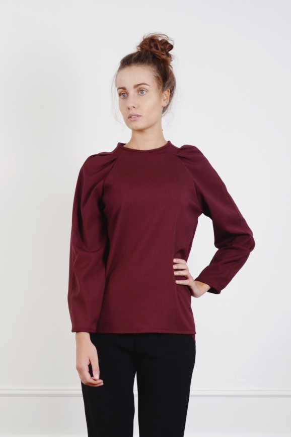 TOP, tenue, basic, couture, made in france, dressing, Blouse, Chic, Demi Saison, Fluide, ample, Mode, Surpiqures, Top, bordeaux