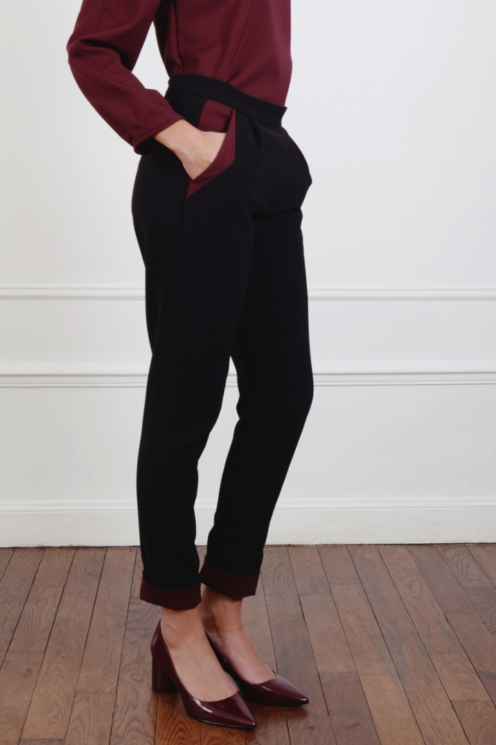 Pantalon, taille haute, coupe, ajustée, coupe ajustée, noir, géométrie, graphique, poches italienne, style, graphique, vêtement, fluide, chic, structuré, confortable
